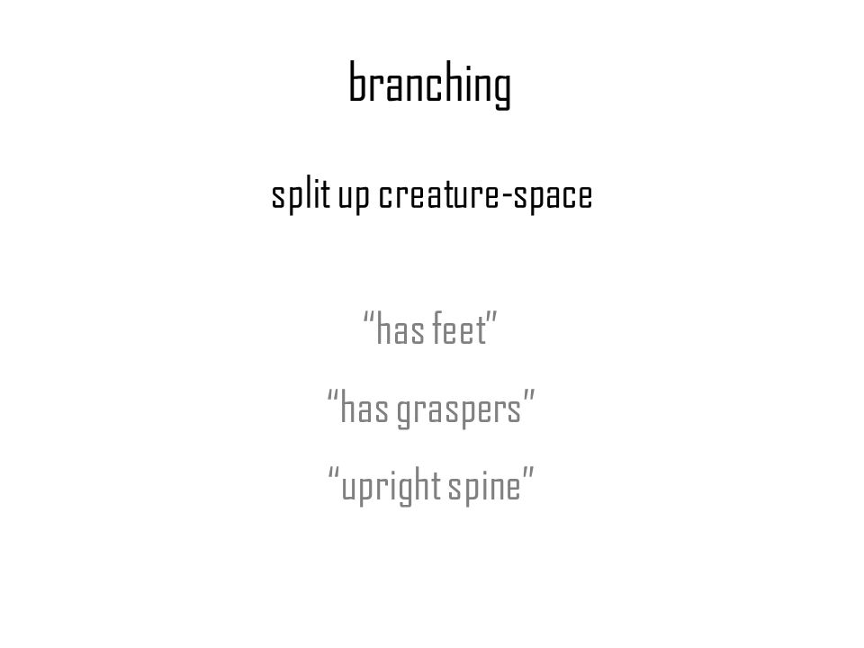 branching split up creature-space has feet has graspers upright spine