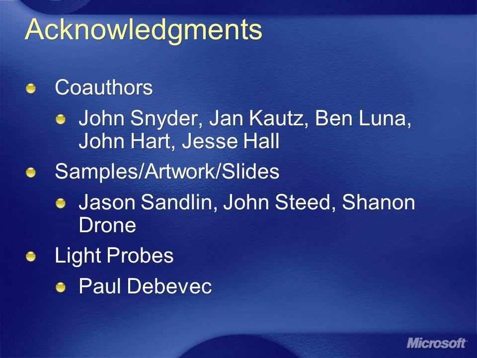 Acknowledgments Coauthors John Snyder, Jan Kautz, Ben Luna, John Hart, Jesse Hall Samples/Artwork/Slides Jason Sandlin, John Steed, Shanon Drone Light