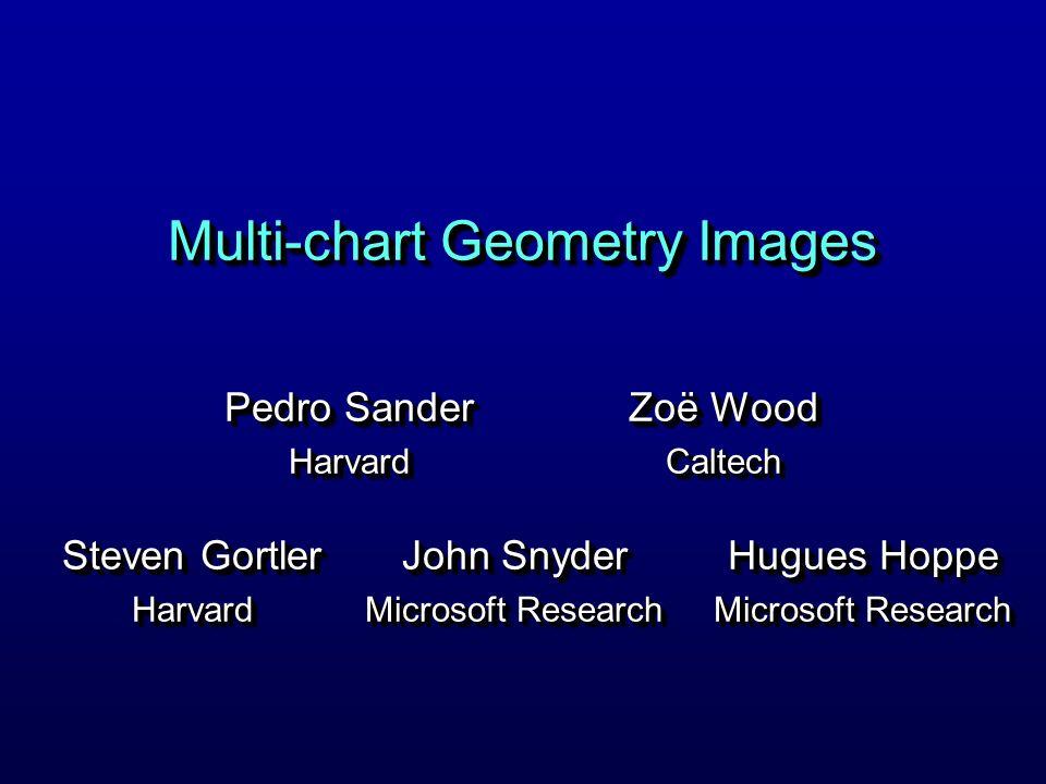 Multi-chart Geometry Images Pedro Sander Harvard Harvard Hugues Hoppe Microsoft Research Hugues Hoppe Microsoft Research Steven Gortler Harvard Harvard John Snyder Microsoft Research John Snyder Microsoft Research Zoë Wood Caltech Caltech