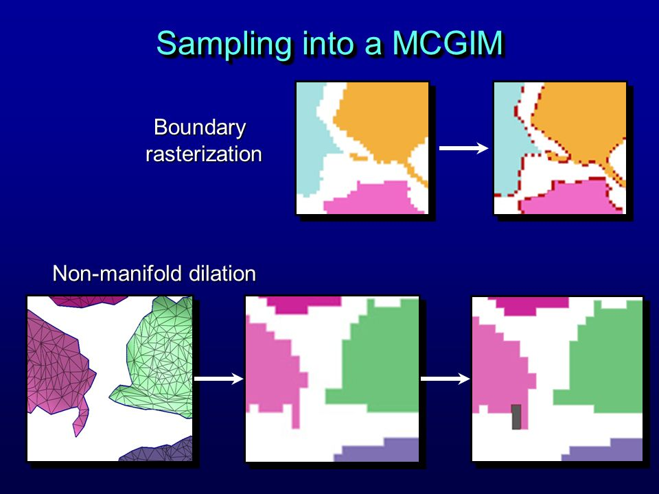 Sampling into a MCGIM Boundary rasterization Non-manifold dilation
