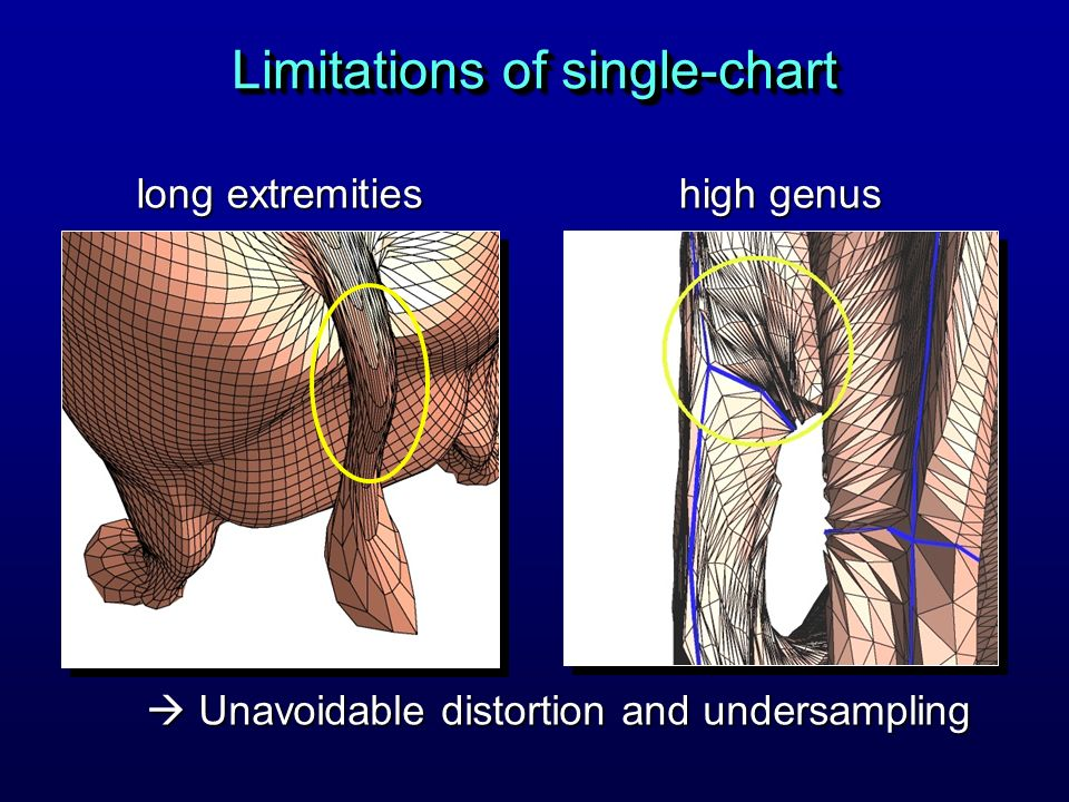 Limitations of single-chart Unavoidable distortion and undersampling Unavoidable distortion and undersampling long extremities high genus