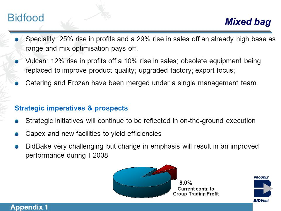 Introduction Segmentals Financials Group Outlook 11 Bidfood Appendix 1 8.0% Current contr.