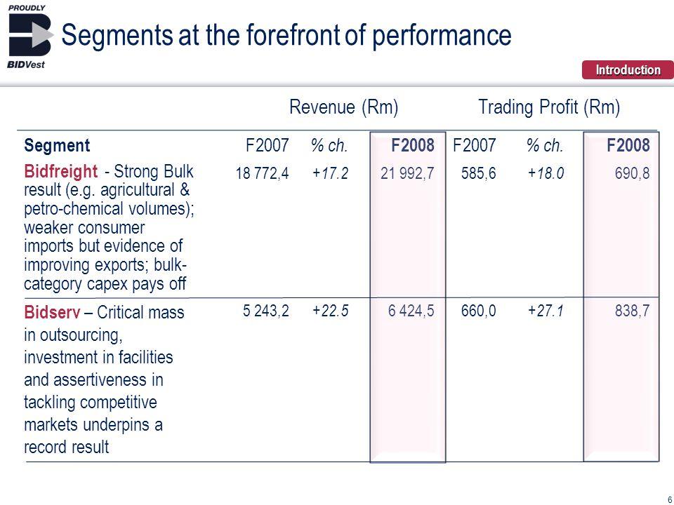 Revenue (Rm)Trading Profit (Rm) Segment F2007 % ch.