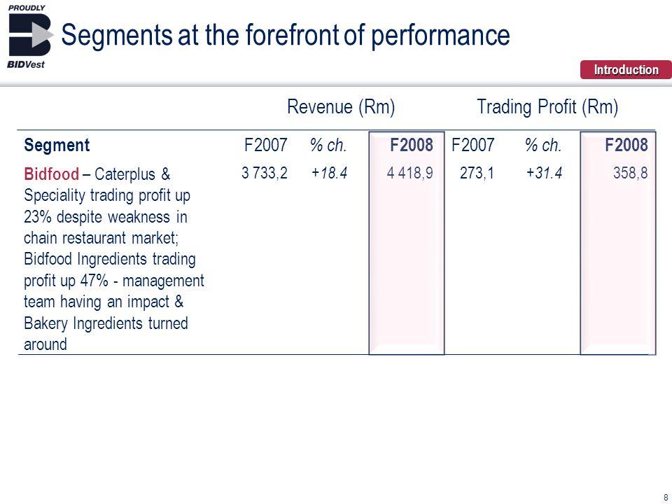 Revenue (Rm)Trading Profit (Rm) Segment F2007 % ch. F2008 F2007 % ch. F2008 Bidfood – Caterplus & Speciality trading profit up 23% despite weakness in