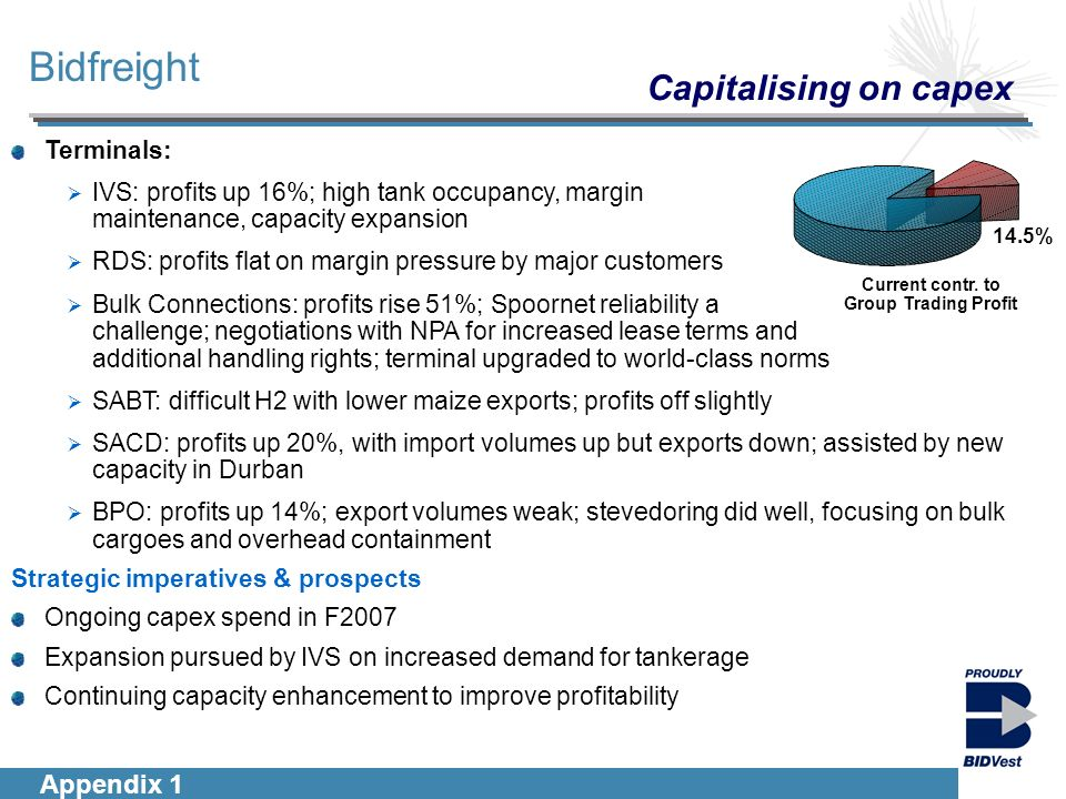 Introduction Segmentals Financials Group Outlook Terminals: IVS: profits up 16%; high tank occupancy, margin maintenance, capacity expansion RDS: profits flat on margin pressure by major customers Bulk Connections: profits rise 51%; Spoornet reliability a challenge; negotiations with NPA for increased lease terms and additional handling rights; terminal upgraded to world-class norms SABT: difficult H2 with lower maize exports; profits off slightly SACD: profits up 20%, with import volumes up but exports down; assisted by new capacity in Durban BPO: profits up 14%; export volumes weak; stevedoring did well, focusing on bulk cargoes and overhead containment Strategic imperatives & prospects Ongoing capex spend in F2007 Expansion pursued by IVS on increased demand for tankerage Continuing capacity enhancement to improve profitability Bidfreight Current contr.