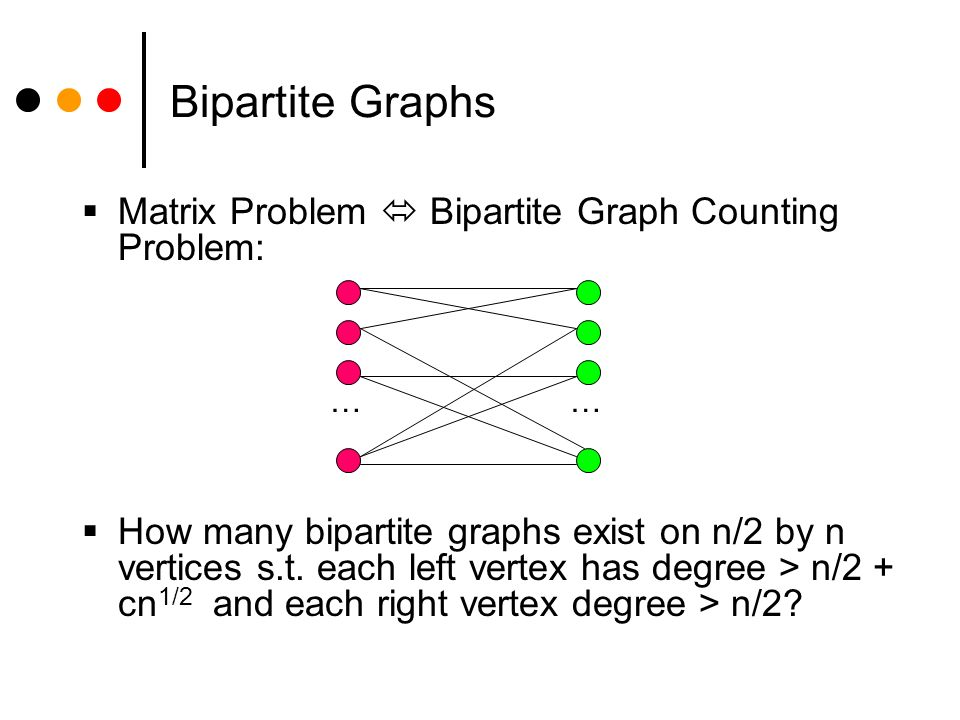 Bipartite Graphs Matrix Problem Bipartite Graph Counting Problem: How many bipartite graphs exist on n/2 by n vertices s.t.