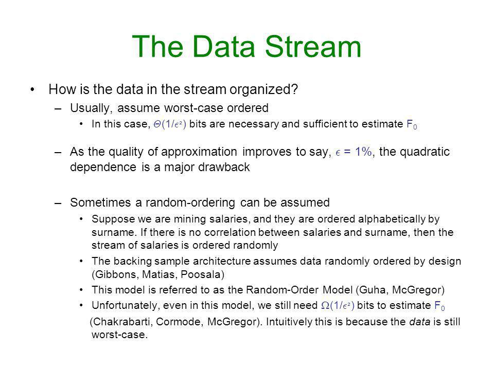 The Data Stream How is the data in the stream organized.