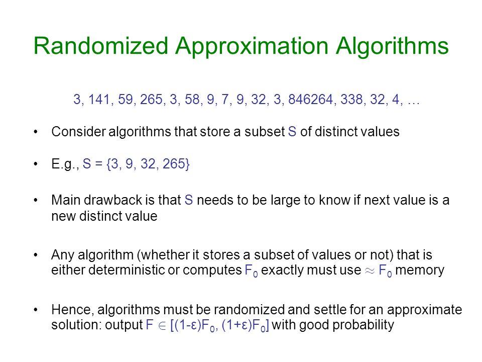 Randomized Approximation Algorithms 3, 141, 59, 265, 3, 58, 9, 7, 9, 32, 3, 846264, 338, 32, 4, … Consider algorithms that store a subset S of distinc