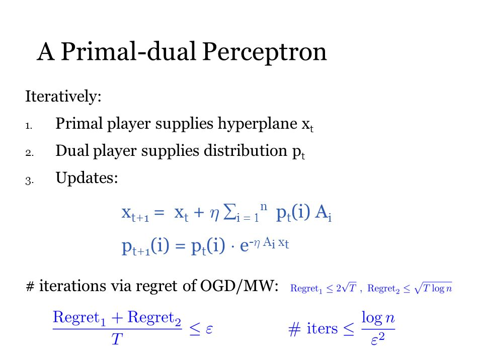 A Primal-dual Perceptron Iteratively: 1. Primal player supplies hyperplane x t 2.