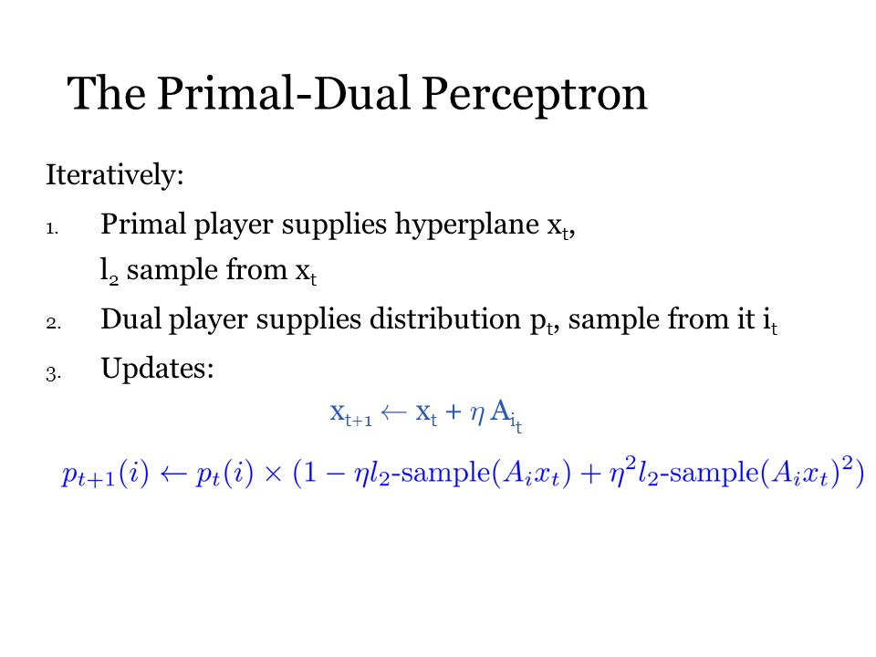 The Primal-Dual Perceptron Iteratively: 1.