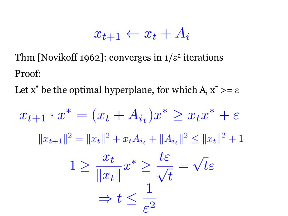 Thm [Novikoff 1962]: converges in 1/ 2 iterations Proof: Let x * be the optimal hyperplane, for which A i x * >=