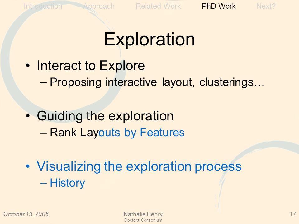 October 13, 2006Nathalie Henry Doctoral Consortium 17 Exploration Interact to Explore –Proposing interactive layout, clusterings… Guiding the exploration –Rank Layouts by Features Visualizing the exploration process –History Introduction Approach Related Work PhD Work Next