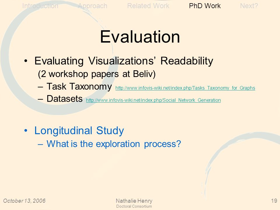 October 13, 2006Nathalie Henry Doctoral Consortium 19 Evaluation Evaluating Visualizations Readability (2 workshop papers at Beliv) –Task Taxonomy http://www.infovis-wiki.net/index.php/Tasks_Taxonomy_for_Graphs http://www.infovis-wiki.net/index.php/Tasks_Taxonomy_for_Graphs –Datasets http://www.infovis-wiki.net/index.php/Social_Network_Generation http://www.infovis-wiki.net/index.php/Social_Network_Generation Longitudinal Study –What is the exploration process.