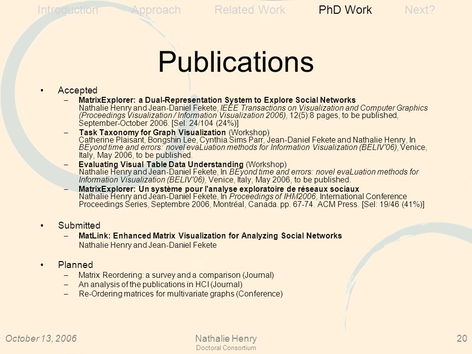 October 13, 2006Nathalie Henry Doctoral Consortium 20 Publications Accepted –MatrixExplorer: a Dual-Representation System to Explore Social Networks Nathalie Henry and Jean-Daniel Fekete, IEEE Transactions on Visualization and Computer Graphics (Proceedings Visualization / Information Visualization 2006), 12(5):8 pages, to be published, September-October 2006.