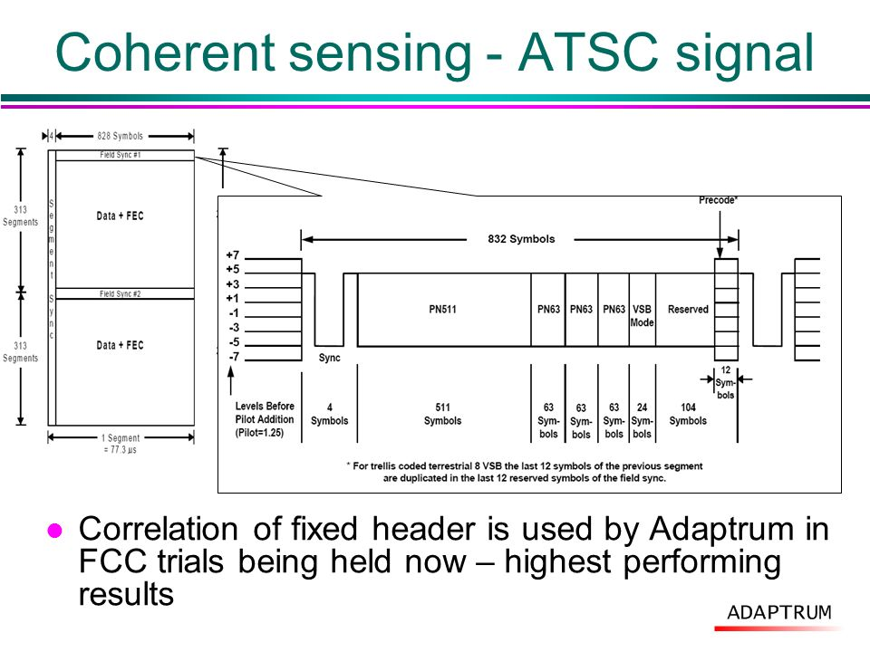 Coherent sensing - ATSC signal l Correlation of fixed header is used by Adaptrum in FCC trials being held now – highest performing results