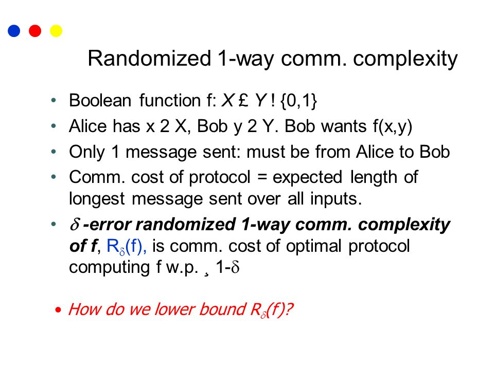 Randomized 1-way comm. complexity Boolean function f: X £ Y ! {0,1} Alice has x 2 X, Bob y 2 Y. Bob wants f(x,y) Only 1 message sent: must be from Ali