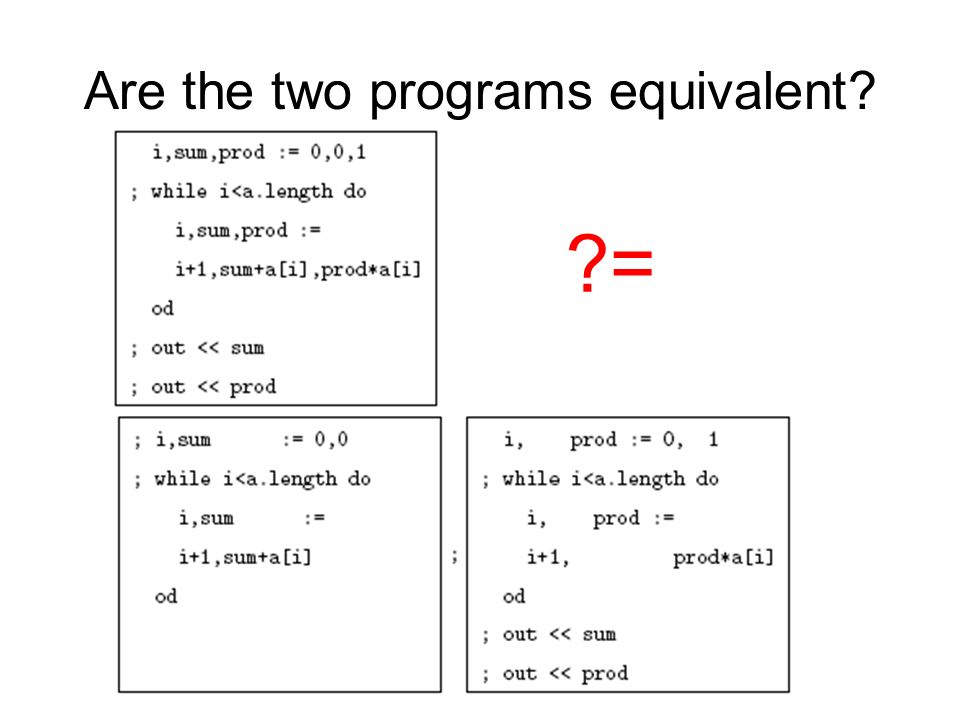 Are the two programs equivalent? ?=