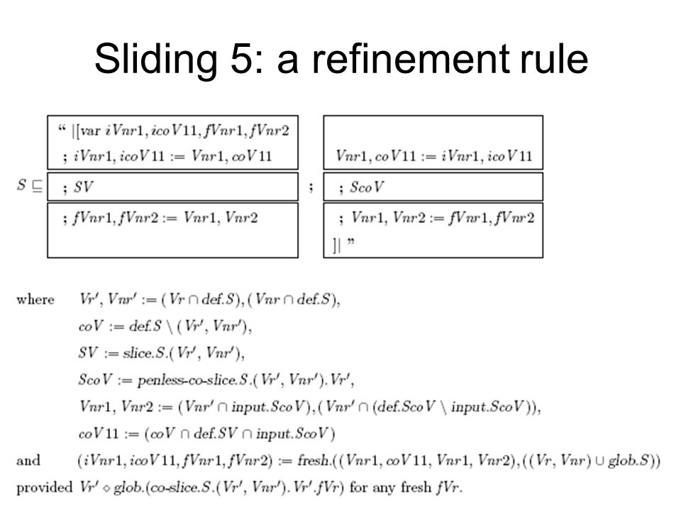 Sliding 5: a refinement rule