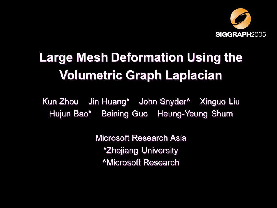 Large Mesh Deformation Using the Volumetric Graph Laplacian Kun Zhou Jin Huang* John Snyder^ Xinguo Liu Hujun Bao* Baining Guo Heung-Yeung Shum Micros