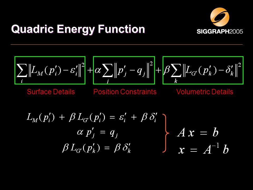 Quadric Energy Function Surface DetailsVolumetric DetailsPosition Constraints
