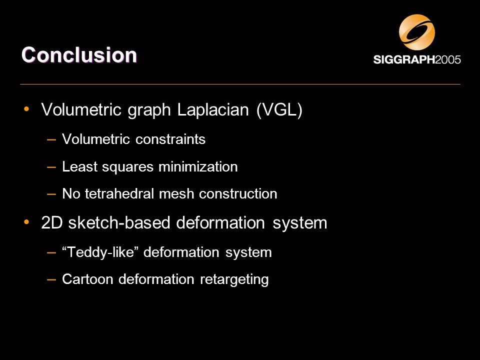 Conclusion Volumetric graph Laplacian (VGL) – Volumetric constraints – Least squares minimization – No tetrahedral mesh construction 2D sketch-based d