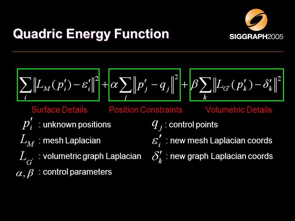 Quadric Energy Function Surface DetailsVolumetric DetailsPosition Constraints : unknown positions : control points : mesh Laplacian : new mesh Laplaci