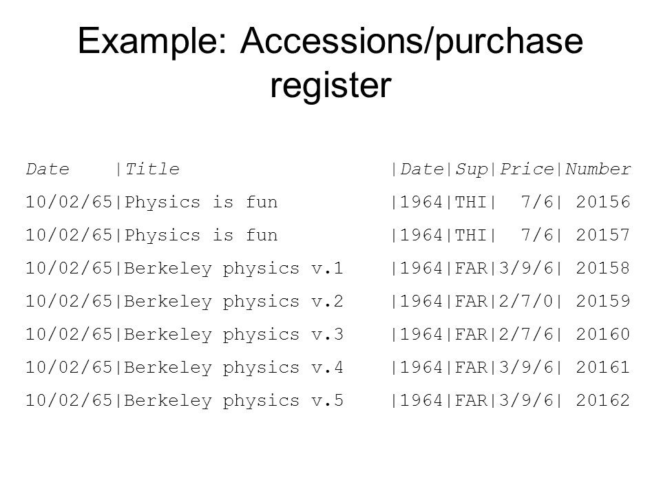 Example: Accessions/purchase register Date |Title |Date|Sup|Price|Number 10/02/65|Physics is fun |1964|THI| 7/6| 20156 10/02/65|Physics is fun |1964|T