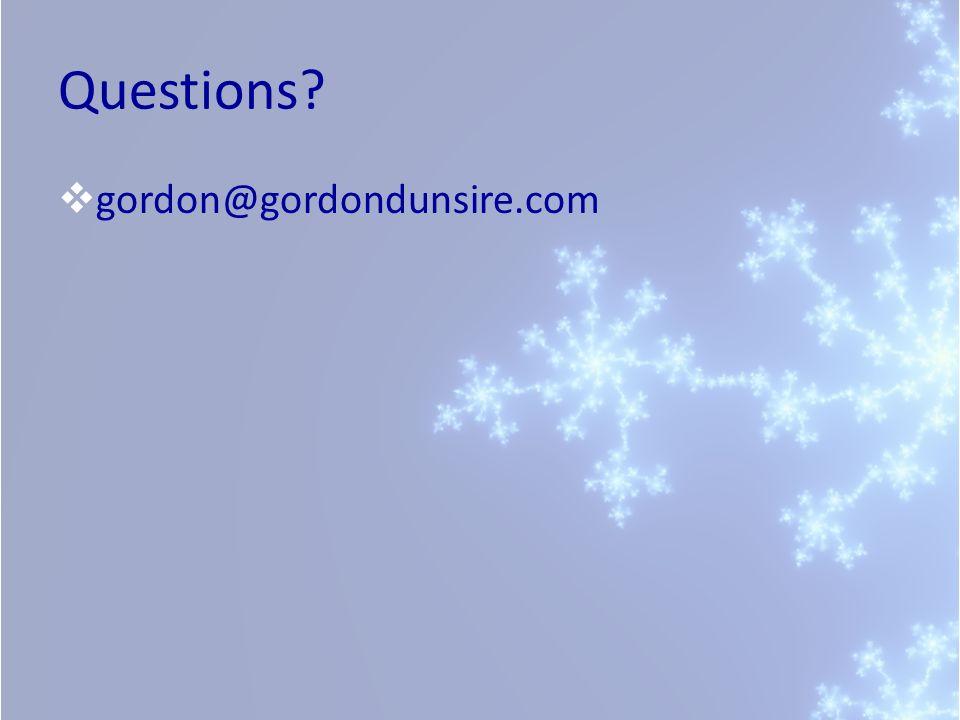 Questions gordon@gordondunsire.com