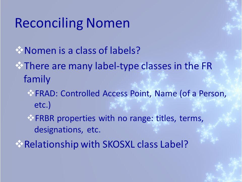 Reconciling Nomen Nomen is a class of labels.