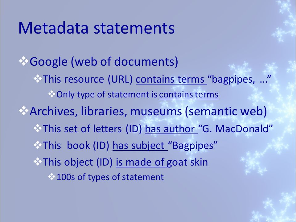 Metadata statements Google (web of documents) This resource (URL) contains terms bagpipes,...