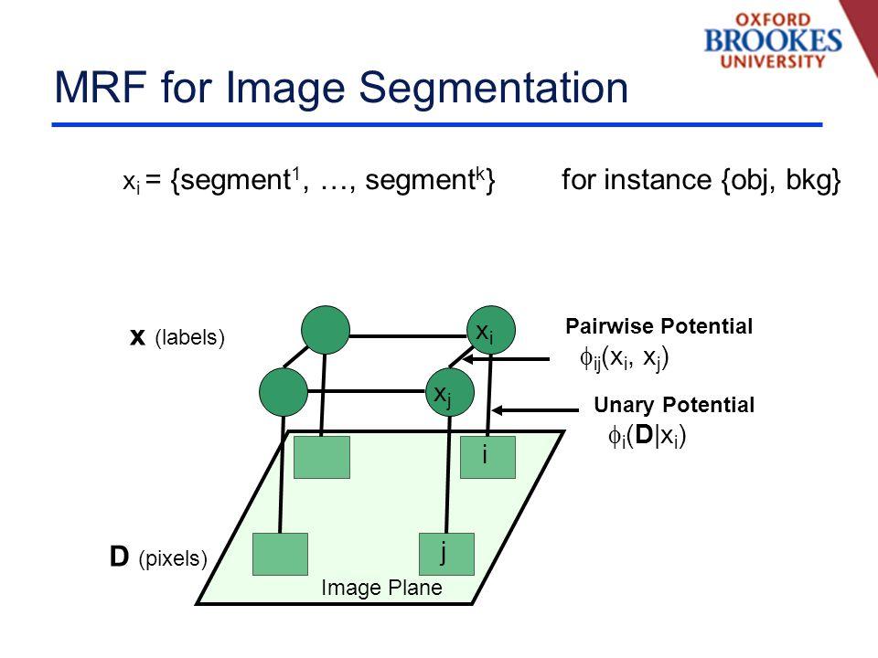 MRF for Image Segmentation D (pixels) x (labels) Image Plane i j xixi xjxj Unary Potential i (D|x i ) Pairwise Potential ij (x i, x j ) x i = {segment