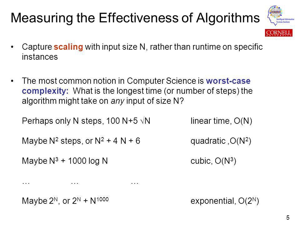 5 Measuring the Effectiveness of Algorithms Capture scaling with input size N, rather than runtime on specific instances The most common notion in Computer Science is worst-case complexity: What is the longest time (or number of steps) the algorithm might take on any input of size N.