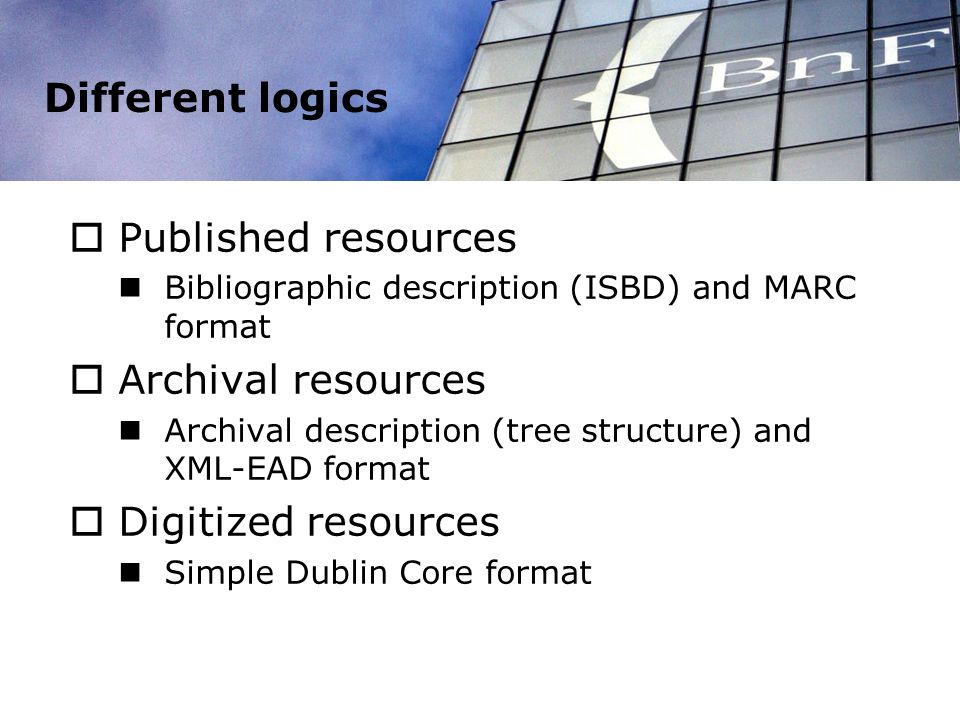 Different logics Published resources Bibliographic description (ISBD) and MARC format Archival resources Archival description (tree structure) and XML-EAD format Digitized resources Simple Dublin Core format