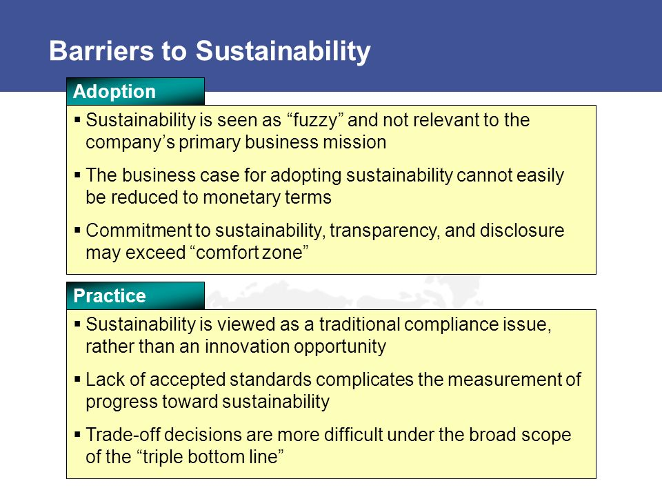 Barriers to Sustainability Sustainability is seen as fuzzy and not relevant to the companys primary business mission The business case for adopting sustainability cannot easily be reduced to monetary terms Commitment to sustainability, transparency, and disclosure may exceed comfort zone Adoption Sustainability is viewed as a traditional compliance issue, rather than an innovation opportunity Lack of accepted standards complicates the measurement of progress toward sustainability Trade-off decisions are more difficult under the broad scope of the triple bottom line Practice