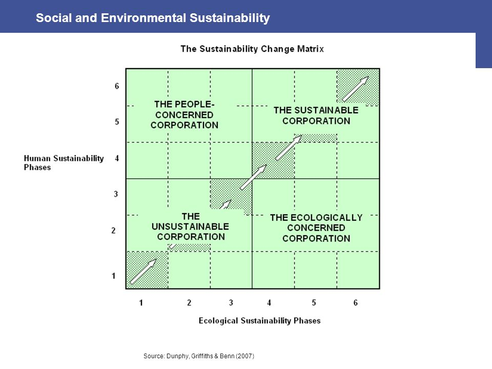 Social and Environmental Sustainability Source: Dunphy, Griffiths & Benn (2007)
