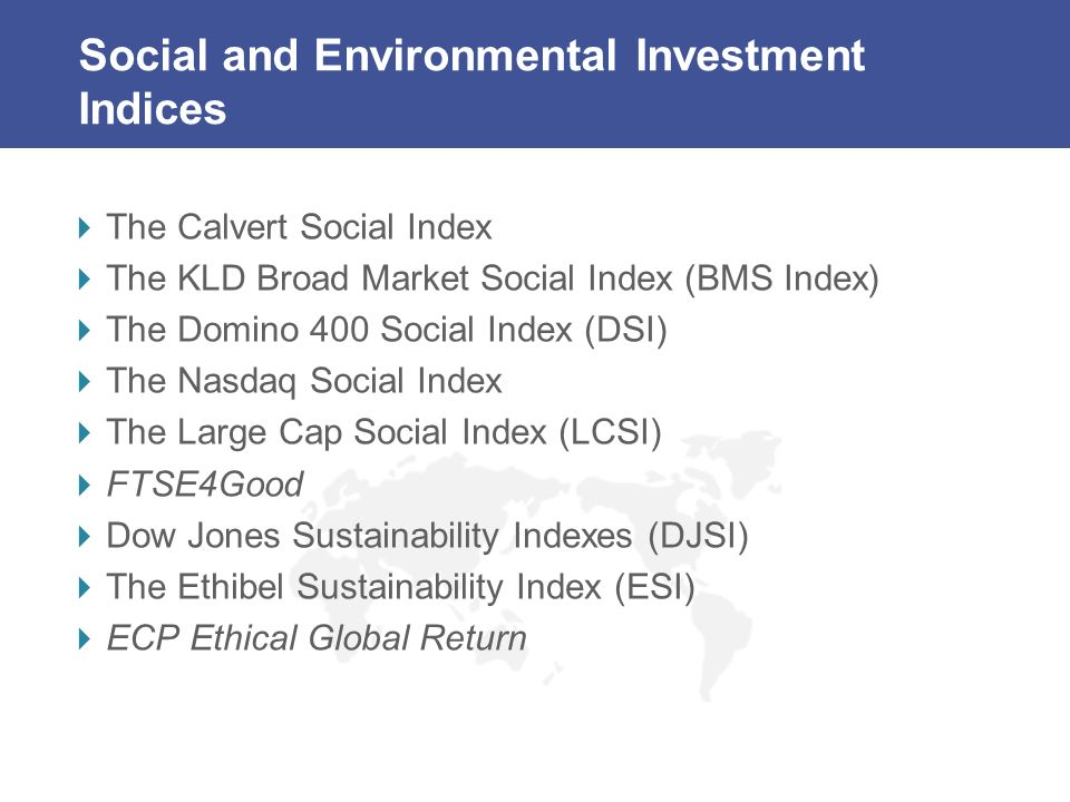 Social and Environmental Investment Indices The Calvert Social Index The KLD Broad Market Social Index (BMS Index) The Domino 400 Social Index (DSI) The Nasdaq Social Index The Large Cap Social Index (LCSI) FTSE4Good Dow Jones Sustainability Indexes (DJSI) The Ethibel Sustainability Index (ESI) ECP Ethical Global Return