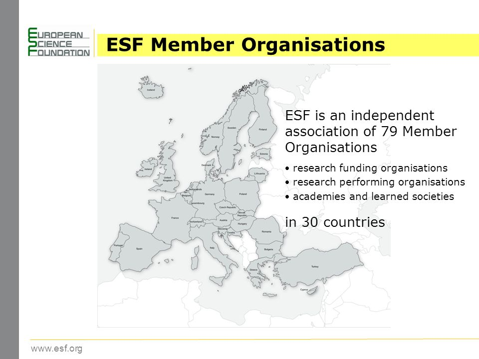 www.esf.org ESF Member Organisations ESF is an independent association of 79 Member Organisations research funding organisations research performing organisations academies and learned societies in 30 countries