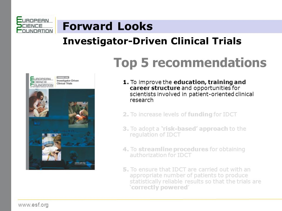 www.esf.org Top 5 recommendations 1.