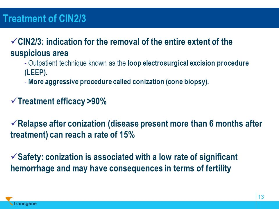 transgene 13 Treatment of CIN2/3 CIN2/3: indication for the removal of the entire extent of the suspicious area - Outpatient technique known as the lo