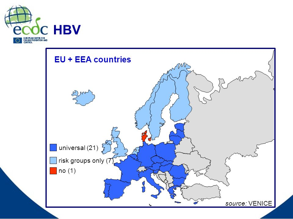 HBV EU + EEA countries source: VENICE universal (21) no (1) risk groups only (7)