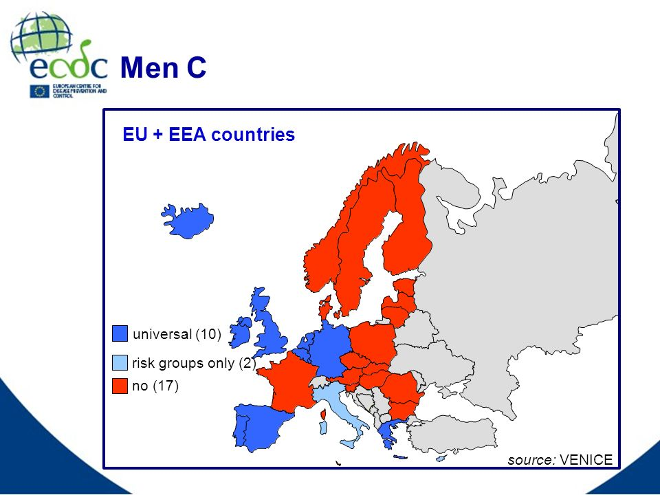 Men C EU + EEA countries source: VENICE universal (10) no (17) risk groups only (2)