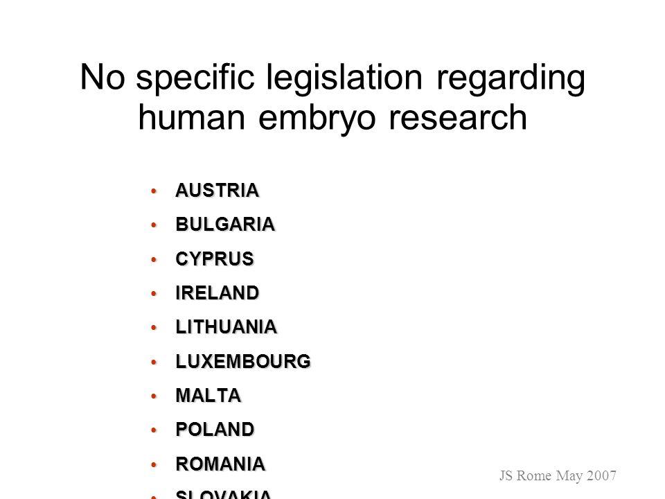 No specific legislation regarding human embryo research AUSTRIA AUSTRIA BULGARIA BULGARIA CYPRUS CYPRUS IRELAND IRELAND LITHUANIA LITHUANIA LUXEMBOURG
