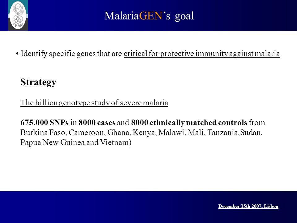 MalariaGENs goal December 15th 2007, Lisbon Lisbon Conference, 15 December 2007 Identify specific genes that are critical for protective immunity against malaria Strategy The billion genotype study of severe malaria 675,000 SNPs in 8000 cases and 8000 ethnically matched controls from Burkina Faso, Cameroon, Ghana, Kenya, Malawi, Mali, Tanzania,Sudan, Papua New Guinea and Vietnam)