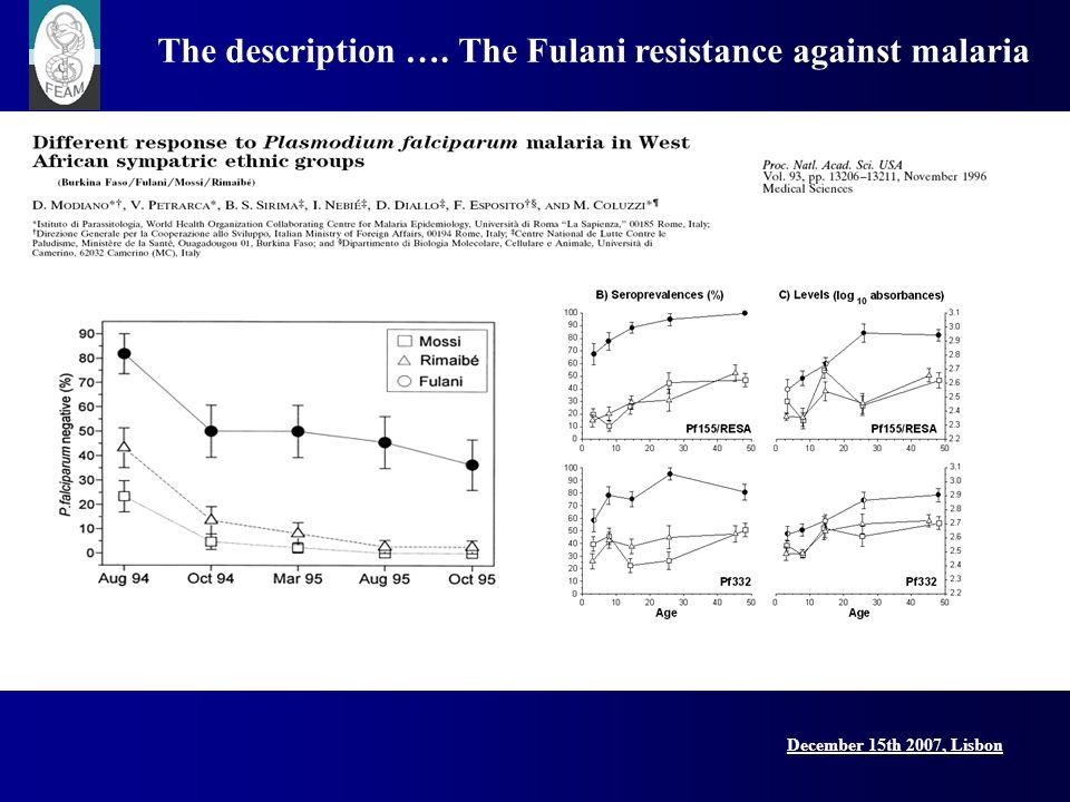 December 15th 2007, Lisbon Lisbon Conference, 15 December 2007 The description …. The Fulani resistance against malaria