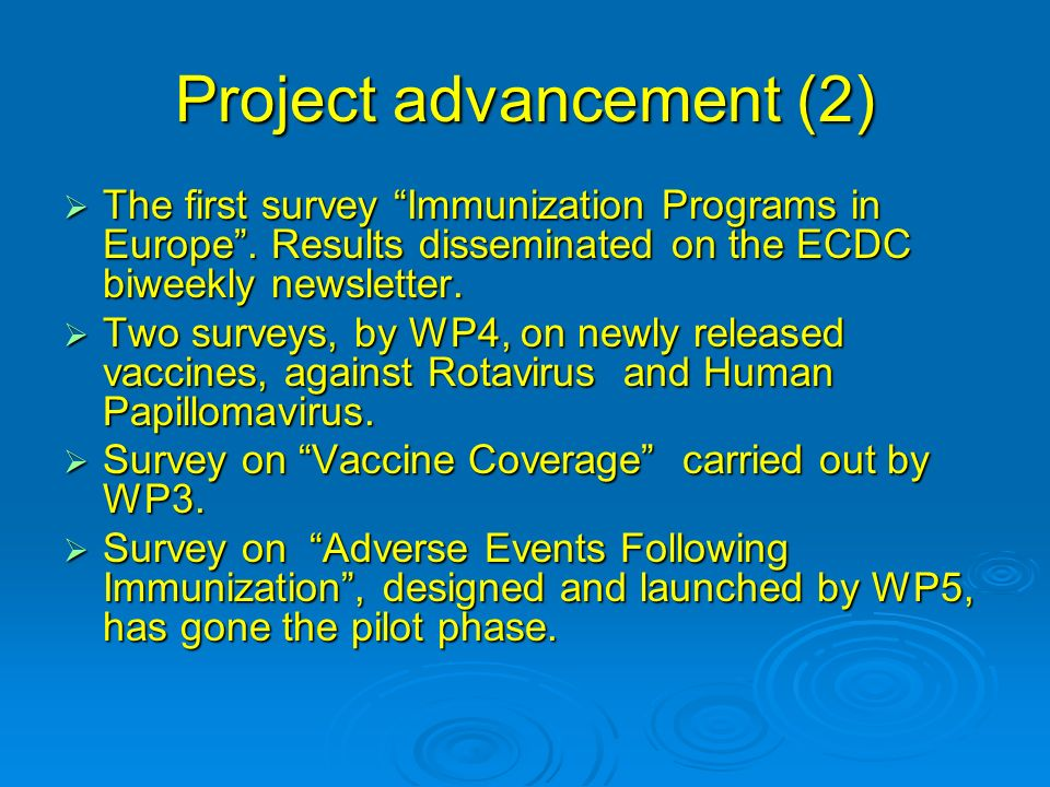 Project advancement (2) The first survey Immunization Programs in Europe.