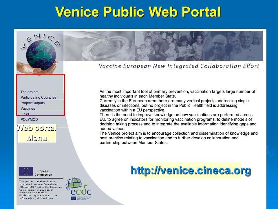 Venice Public Web Portal Web portal Menu http://venice.cineca.org