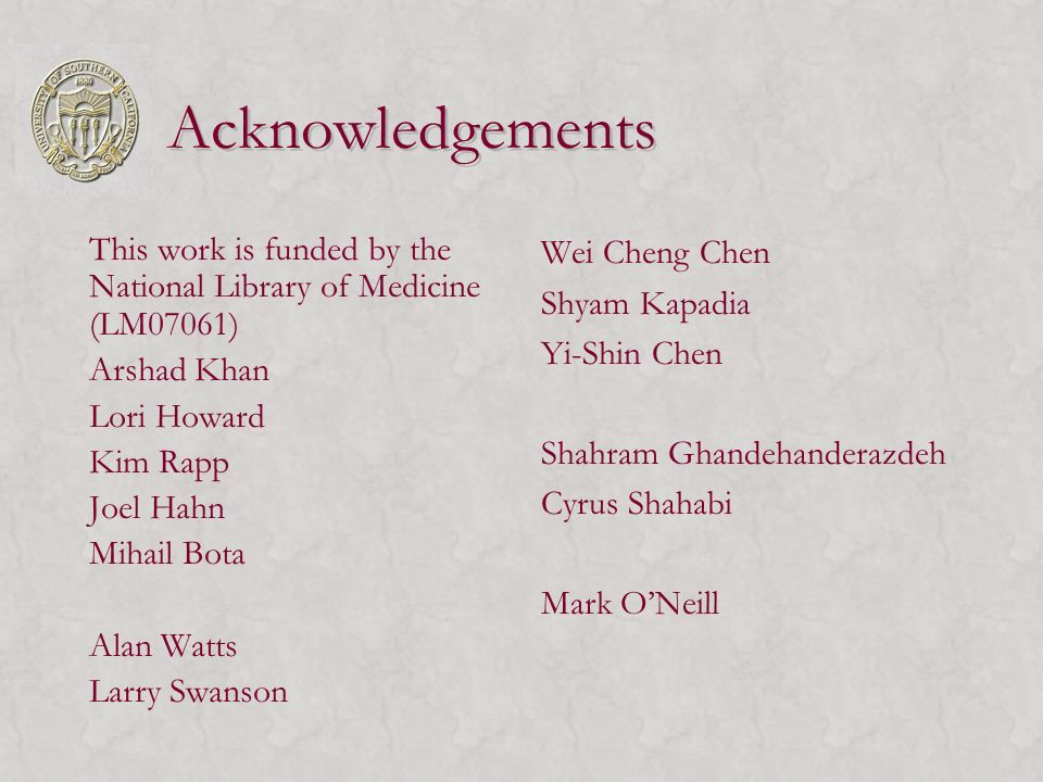 Acknowledgements This work is funded by the National Library of Medicine (LM07061) Arshad Khan Lori Howard Kim Rapp Joel Hahn Mihail Bota Alan Watts L