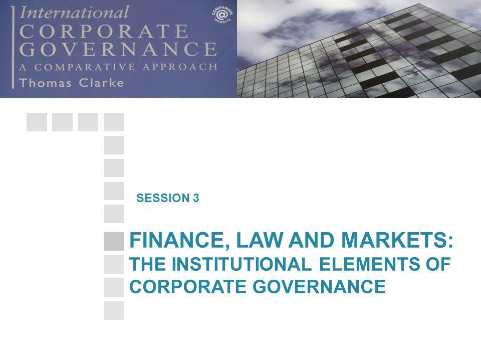 FINANCE, LAW AND MARKETS: THE INSTITUTIONAL ELEMENTS OF CORPORATE GOVERNANCE SESSION 3