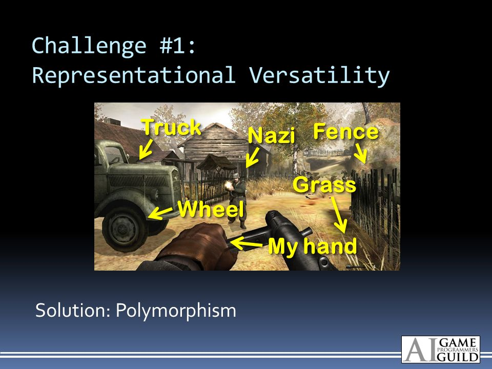 Challenge #1: Representational Versatility Solution: Polymorphism