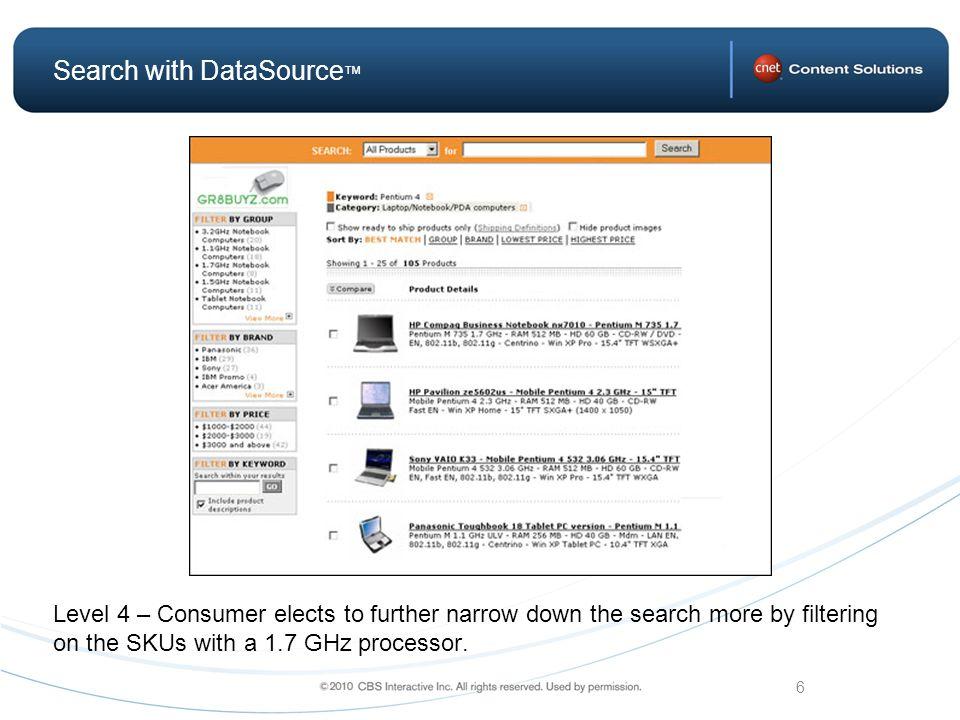 6 Search with DataSource Level 4 – Consumer elects to further narrow down the search more by filtering on the SKUs with a 1.7 GHz processor.